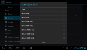 DEA Factory MyPlay HDMI Settings.1024x600 UI is scaled to the output resolution, video surfaces are treated separately: a 1080p video will be shown with 1:1 pixel mapping on 1080p HDMI settings.